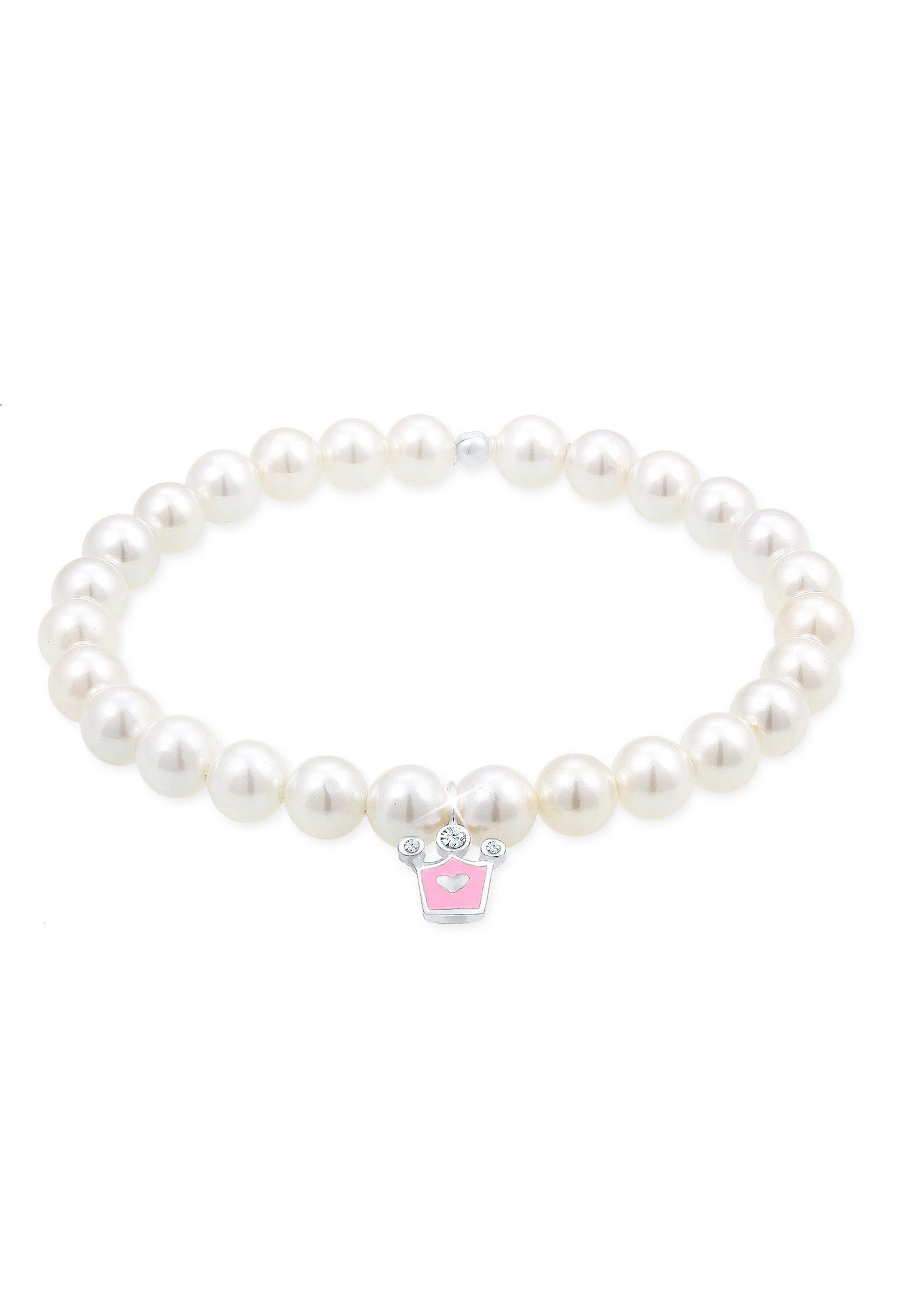 Elli Perlenarmband »Kids Krone Perle Swarovski® Kristalle 925 Silber«