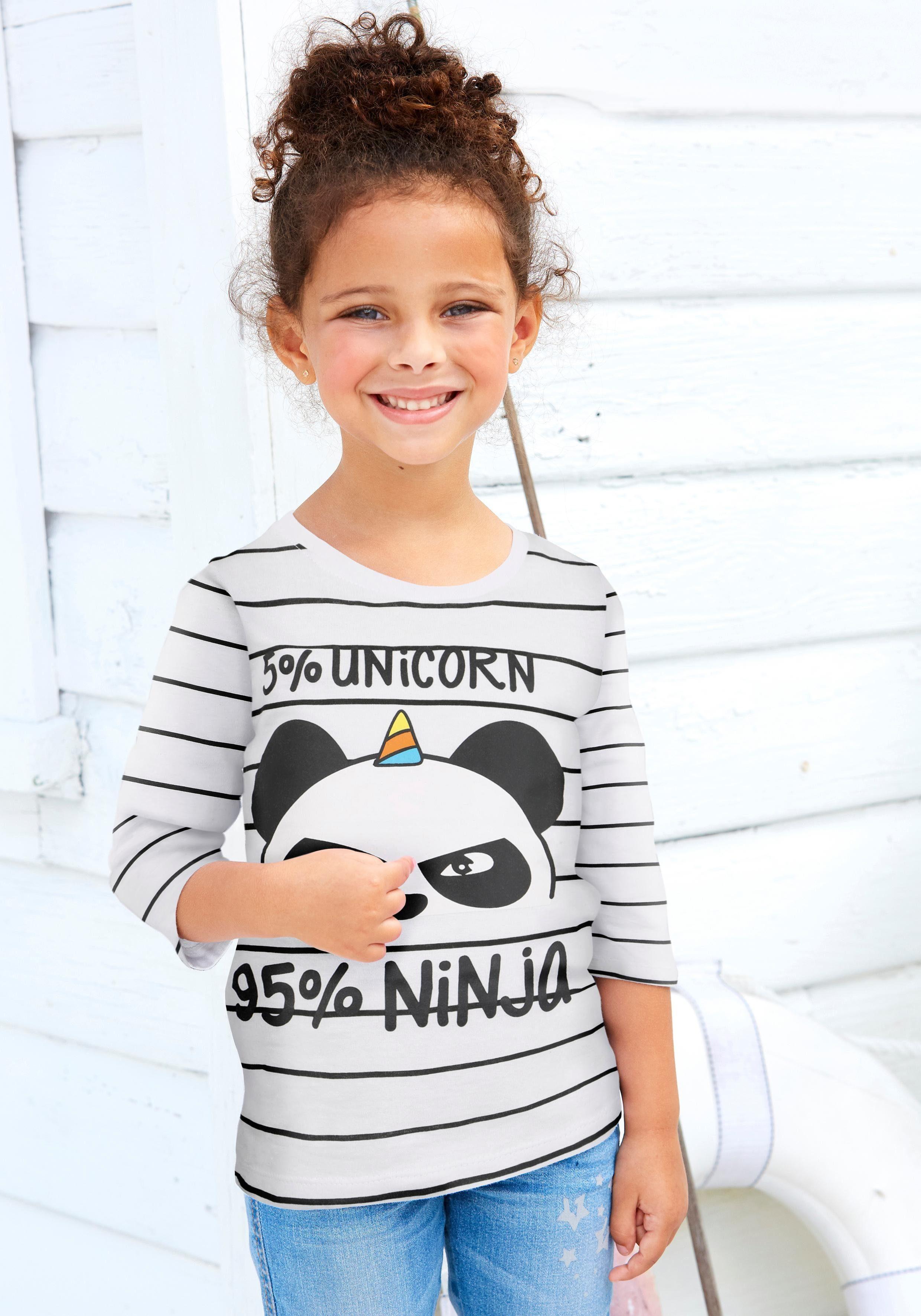 Arizona Langarmshirt »5% UNICORN 95% NINJA« mit Panda-Druck