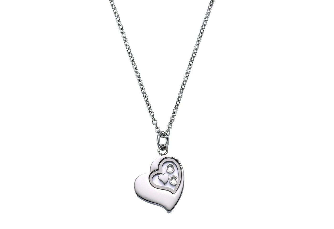 Zeeme Anhänger mit Kette »Edelstahl Herz Kristall« | Schmuck > Halsketten > Herzketten | Grau | Zeeme