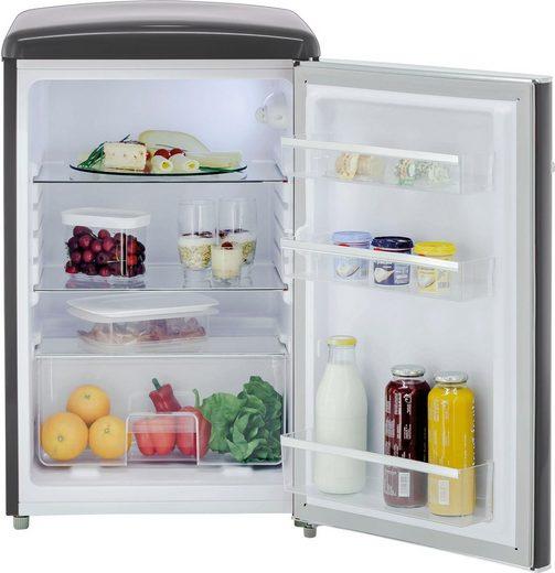 exquisit Kühlschrank RKS 120-16 RVA++ MS, 87,5 cm hoch, 55 cm breit, Retro