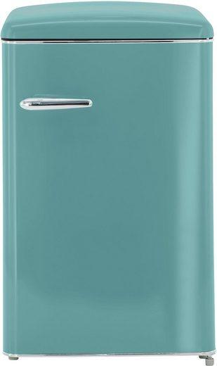 exquisit Vollraumkühlschrank RKS 120-16 RVA++ TB, 87,5 cm hoch, 55 cm breit, Retro