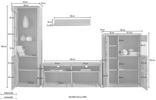 Wohnwände - Wohnwand »Silkeborg«, (Set, 4 tlg), teilmassives Holz  - Onlineshop OTTO