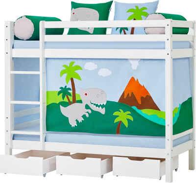 Hoppekids Etagenbett »Dinosaurier«, inkl. Vorhang-Set, Matratzen und Rollroste