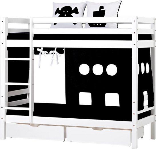Hoppekids Etagenbett »Pirat« inkl. Vorhang, 2 Matratzen und 2 Rollroste