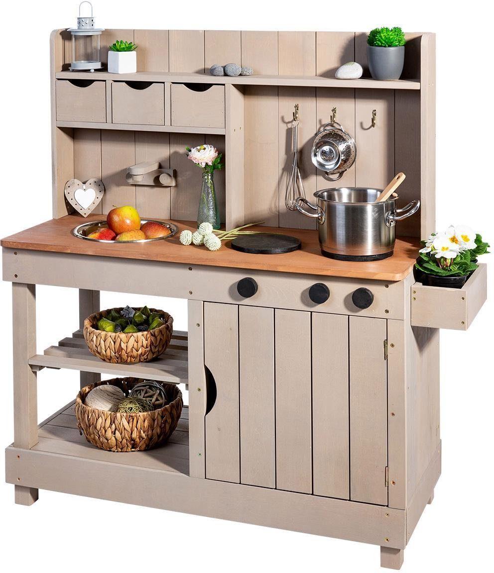 Sun Outdoor-Spielküche »Matschküche Entdecker, Warmgrau-Braun« Holz