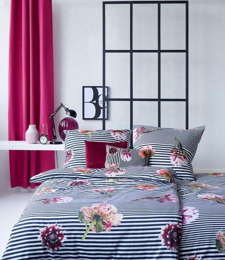 Bettwäsche »Selma«, APELT, mit Blumen und Streifen