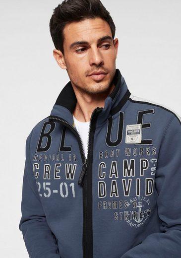 CAMP DAVID Sweatjacke mit modischem Stehkragen