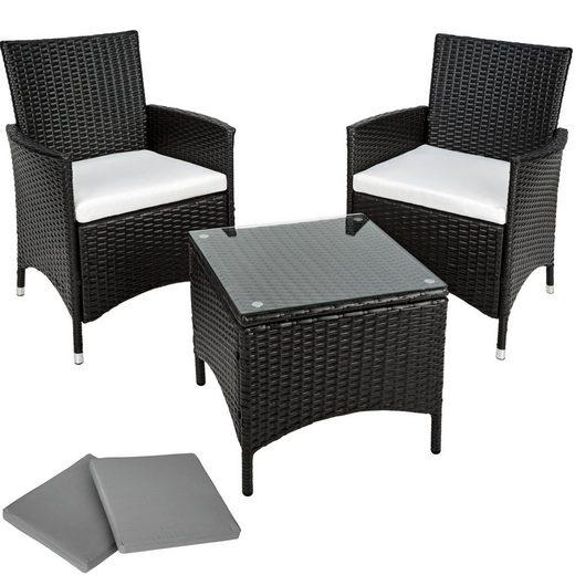 tectake Sitzgruppe »Aluminium Rattan Sitzgruppe Athen 2+1«, (3-tlg., set_includes_chairs,set_includes_cushions,set_includes_table)