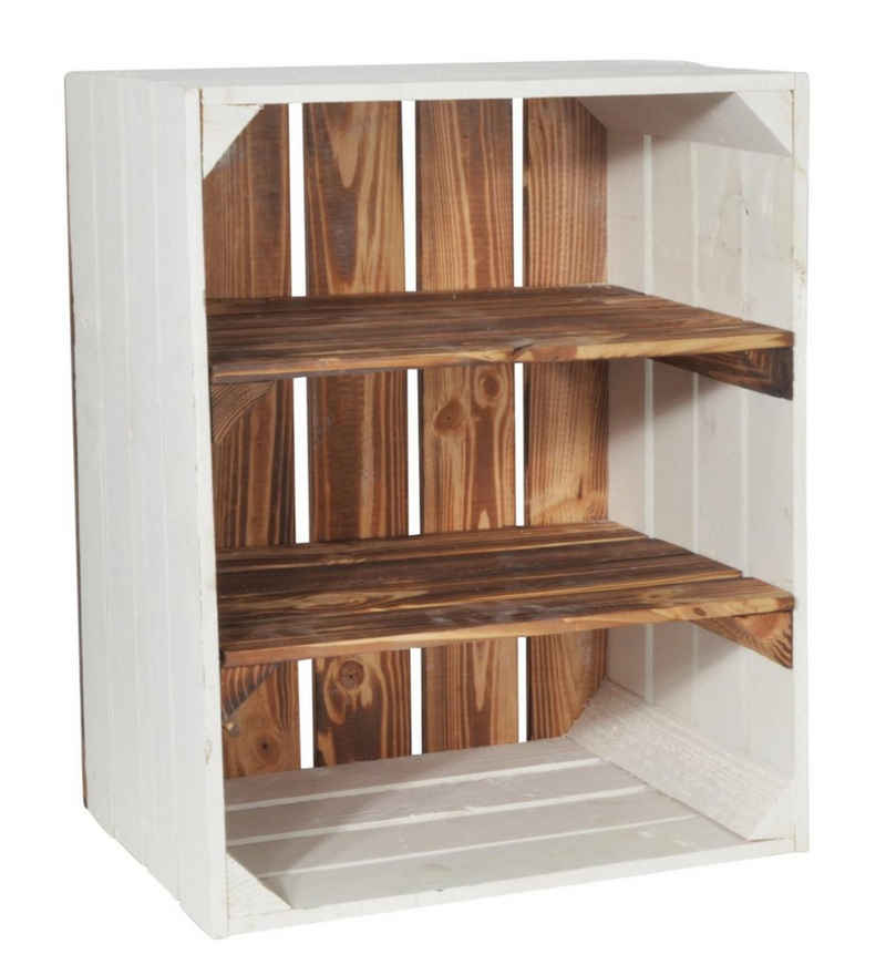 CHICCIE Holzkiste »2x Kurzes Regal Geflammt Weiß 50x40x30cm Kiste« (1 Stück)