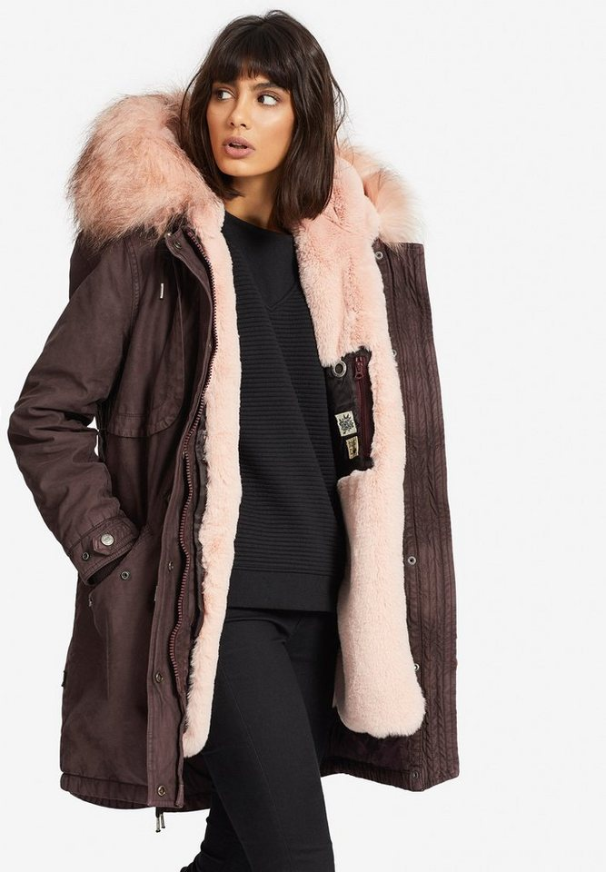 2720684554003d khujo Wintermantel »UMARA2 SOLID WITH INNER FUR JACKET« mit Kunstfell-Futter