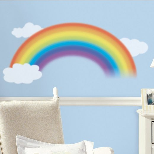 RoomMates Wandsticker Regenbogen mit Wolken, 4-tlg.