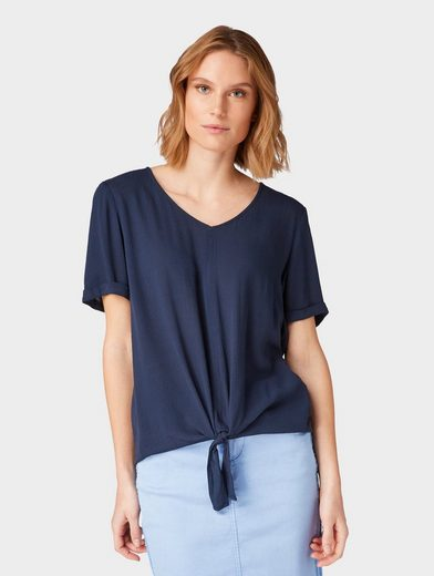 TOM TAILOR Shirtbluse »Bluse mit Knoten-Detail«