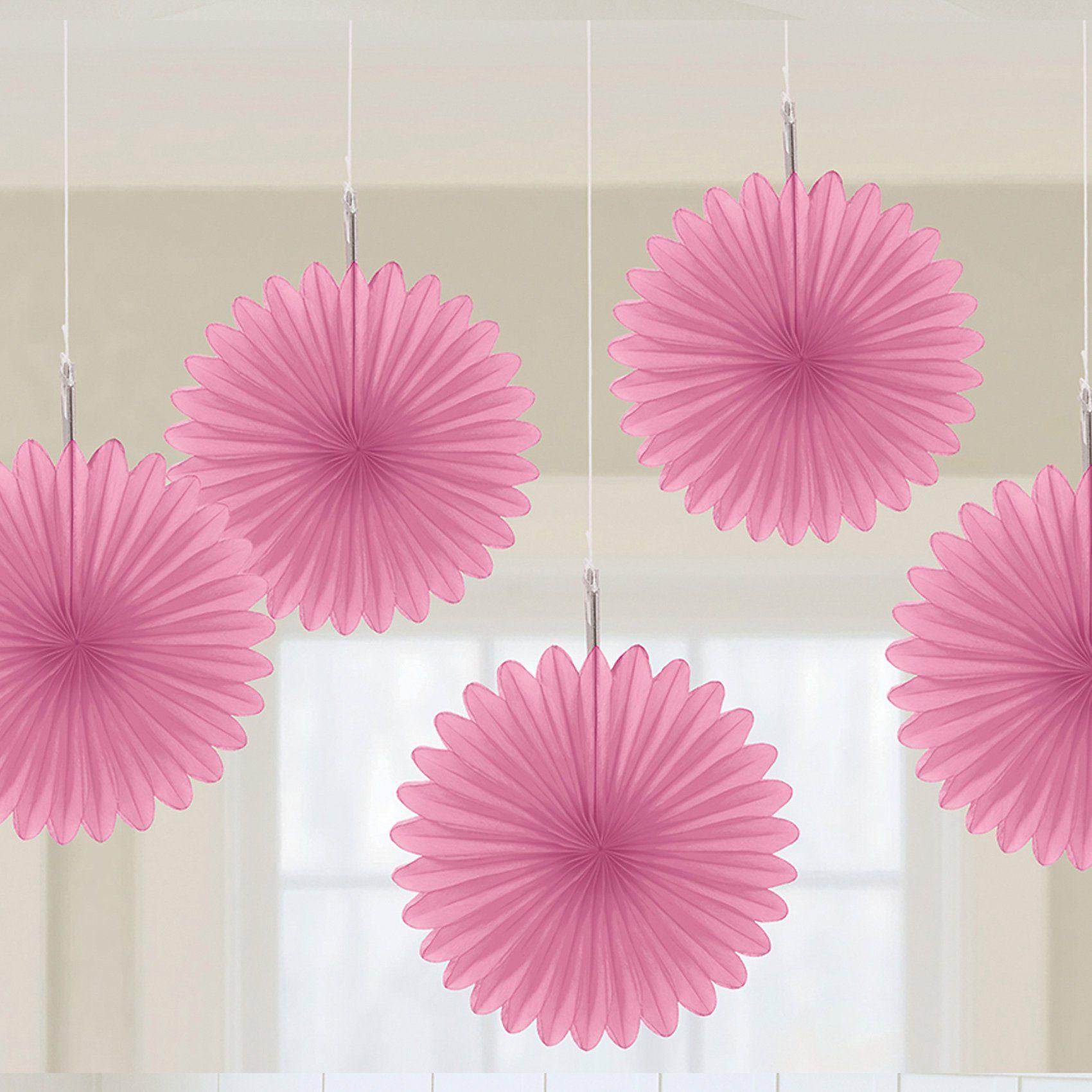 Amscan Papier-Dekofächer pink, 5 Stück