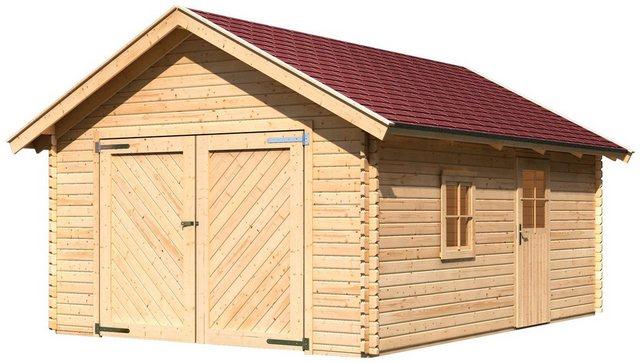 KARIBU Einzel-Garage »Blockbohlen 2«, BxT: 435x572 cm, Einfahrtshöhe: 193 cm | Baumarkt > Garagen und Carports > Garagen | Karibu