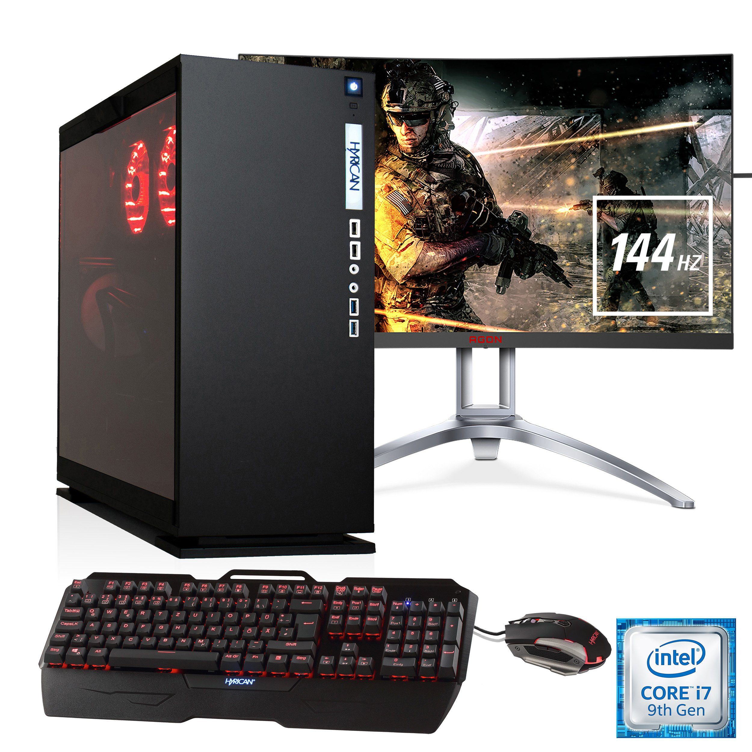 "HYRICAN Gaming PC i7-9700K, RTX 2080, 32GB RAM + 69 cm (27"") TFT »Elegance SET1832«"