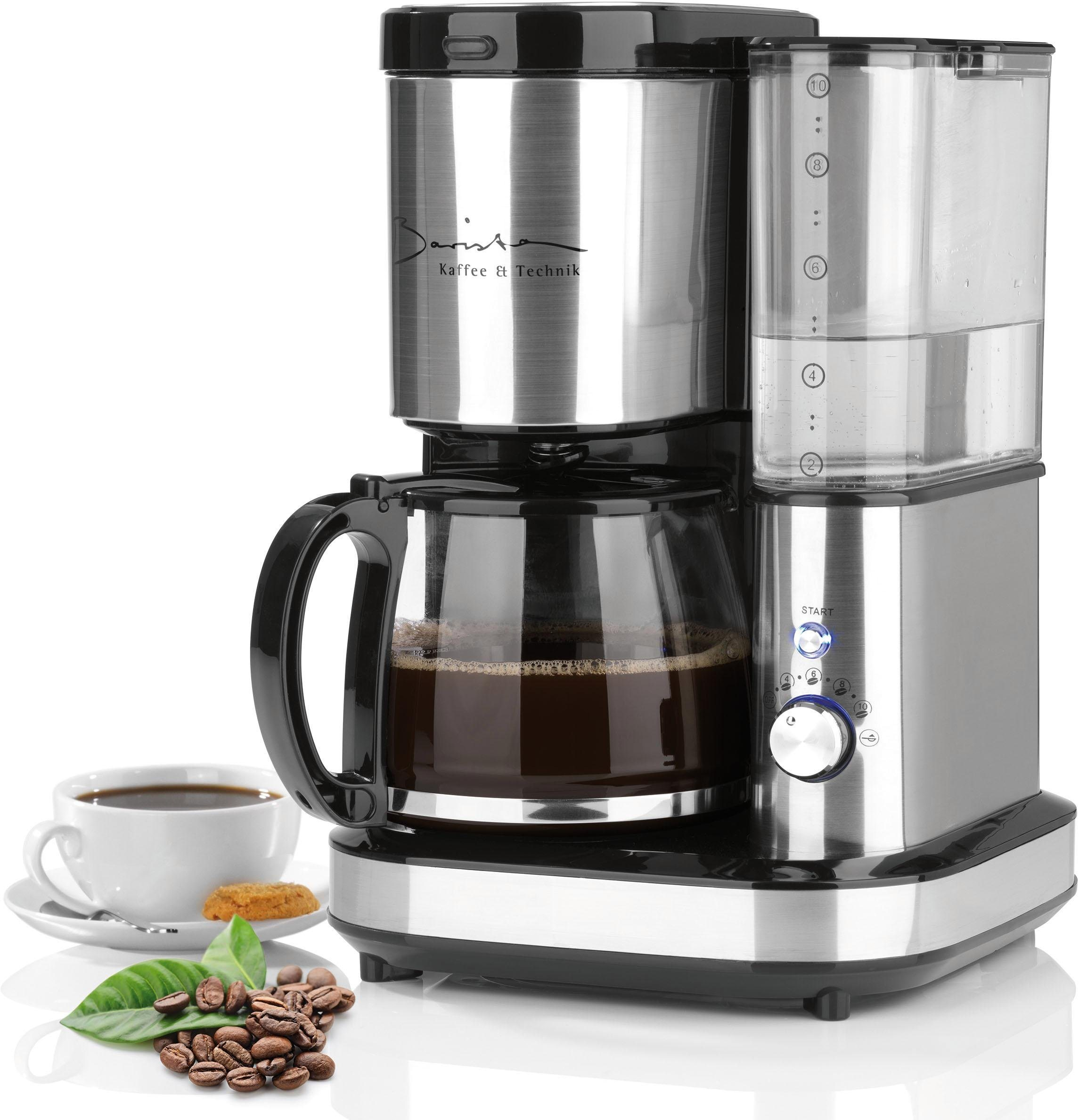 Kaffeemaschine Mit Mahlwerk 800W Edelstahl Schwarz 12l Kaffeekanne Permanentfilter