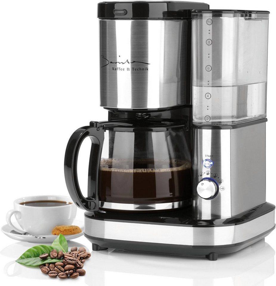 barista kaffeemaschine mit mahlwerk barista 800w edelstahl schwarz 1 2l kaffeekanne