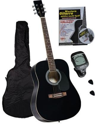 Clifton Westerngitarre »Dreadnought Gitarre mit Stimmgerät,Tasche, Heft und CD« 4/4, Komplettset