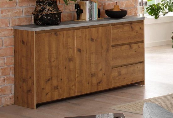 Home affaire Sideboard »Maribo« im modernen Landhaus-Stil, mit schöner Betontopplatte, Breite 150 cm