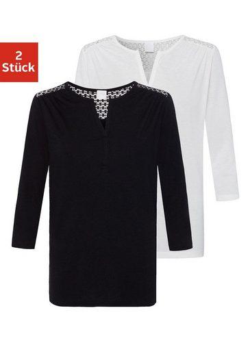 LASCANA 3/4-Arm-Shirt (2er-Pack) mit Spitzeneinsatz und kleinen Raffungen