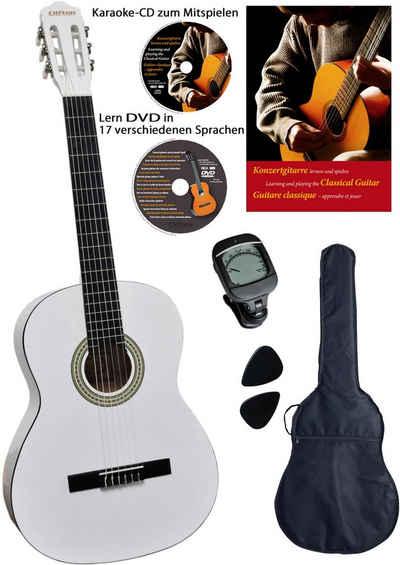 Clifton Konzertgitarre »Konzertgitarrenset White 4/4« 4/4, Komplettset