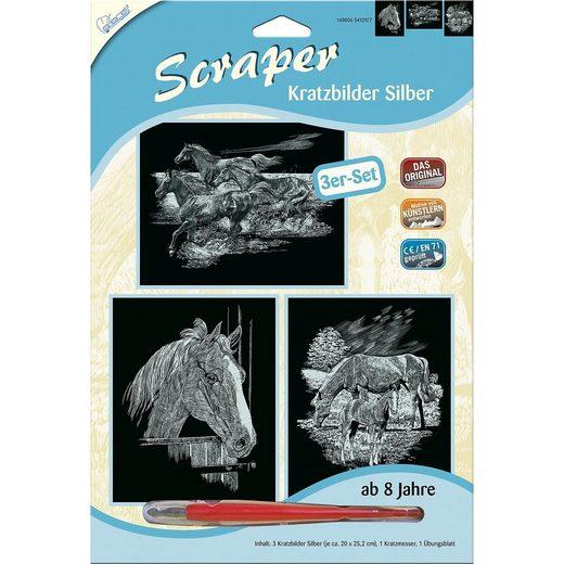 MAMMUT Spiel und Geschenk Scraper Kratzbilder 3er Set Silber - Pferde