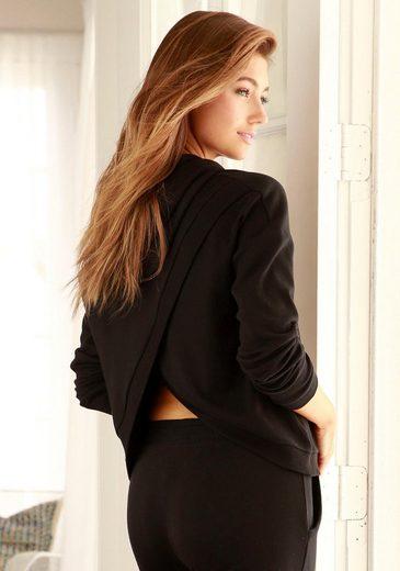 LASCANA Kapuzensweatshirt mit offenem Rückenteil in Layeroptik