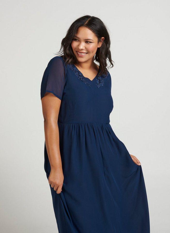 662ed8d602161 Zizzi Abendkleid Damen Große Größen Maxikleid Kurzarm Kleid Feminin  Sommerkleider