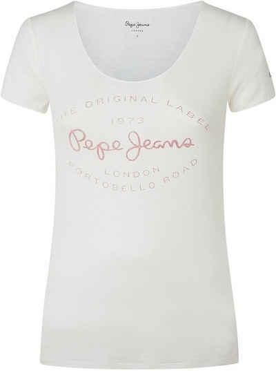 Pepe Jeans T-Shirt »PAIGES« mit tiefem Rundhalsausschnitt und großem Marken-Logo-Print im Brustbereich
