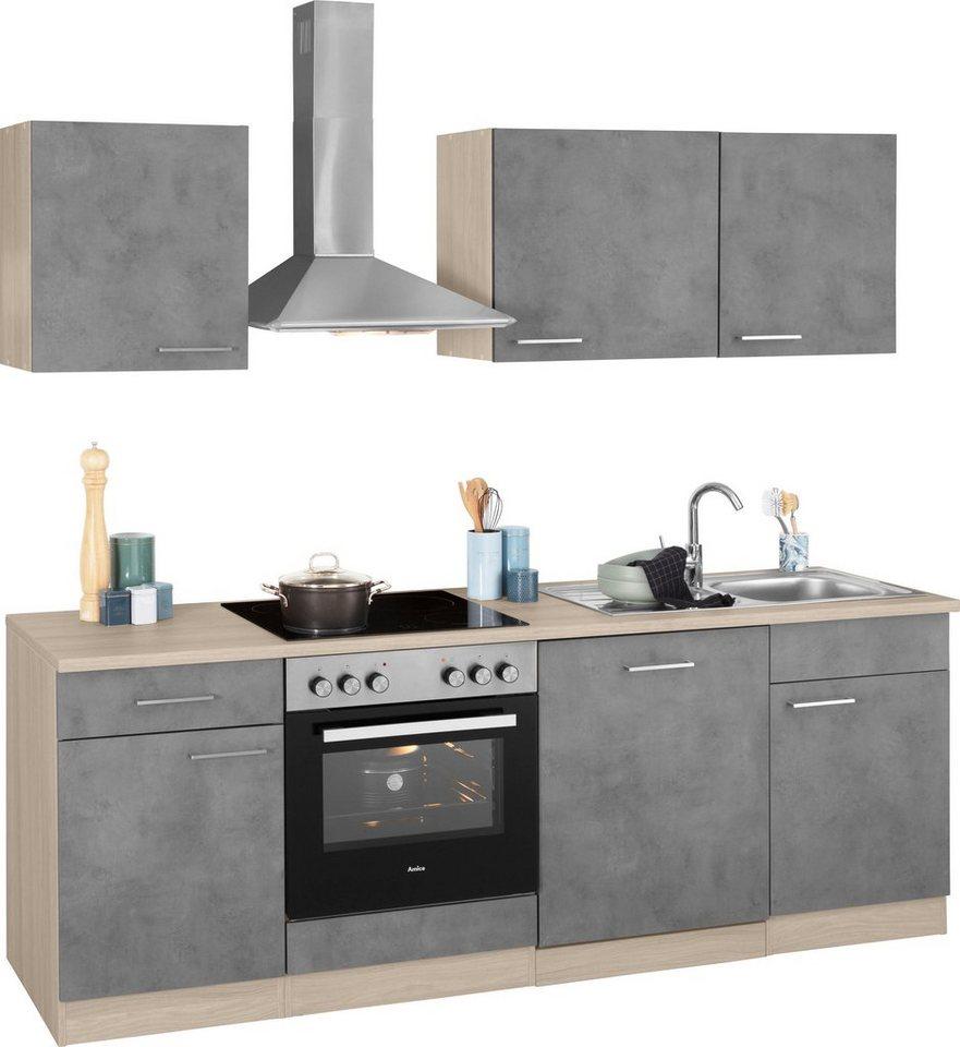 wiho Küchen Küchenzeile »Zell«, mit E-Geräten, Breite 220 cm, Pflegeleichte  Oberfläche online kaufen | OTTO