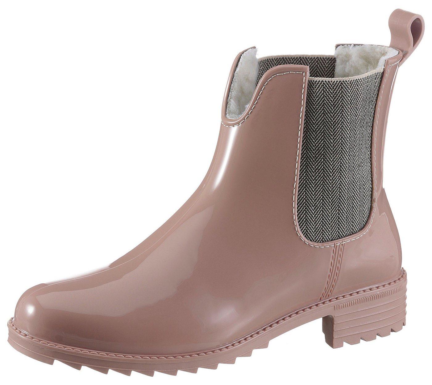 Damen Rieker Gummistiefel mit Stretcheinsätzen rosa, schwarz   04059954068525