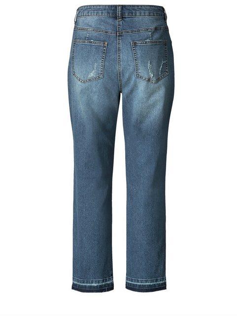 Hosen - Angel of Style by Happy Size Slim Fit Jeans knöchellang mit Destroyed Effekt › blau  - Onlineshop OTTO