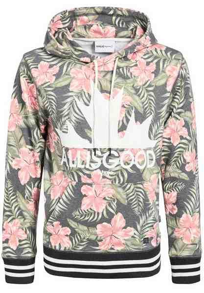 khujo Kapuzensweatshirt »PALITA ALOHA AOP« mit floralem All-Over-Print und Kapuze