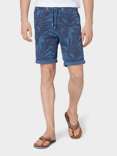 TOM TAILOR Denim Shorts »Slim Chino Shorts mit Palmen-Print«
