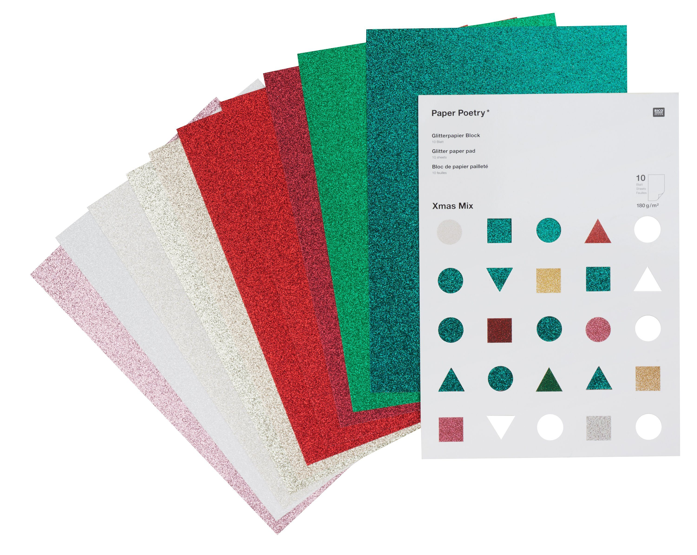 """Rico-Design Verlag Glitterpapier """"Xmas"""" 10 Blatt"""