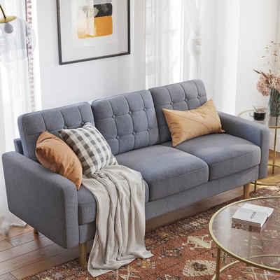 VASAGLE 3-Sitzer »LCS101G01 LCS101M01 LCS101R01«, Couch fürs Wohnzimmer, Polyester, grau
