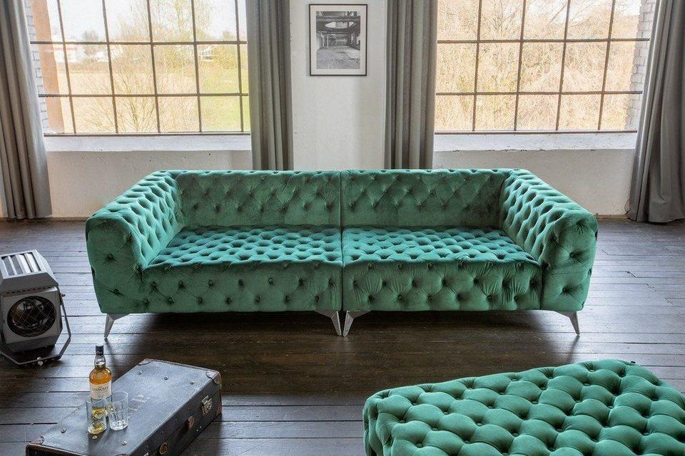 KAWOLA Big Sofa Chesterfield versch Farben mit o ohne