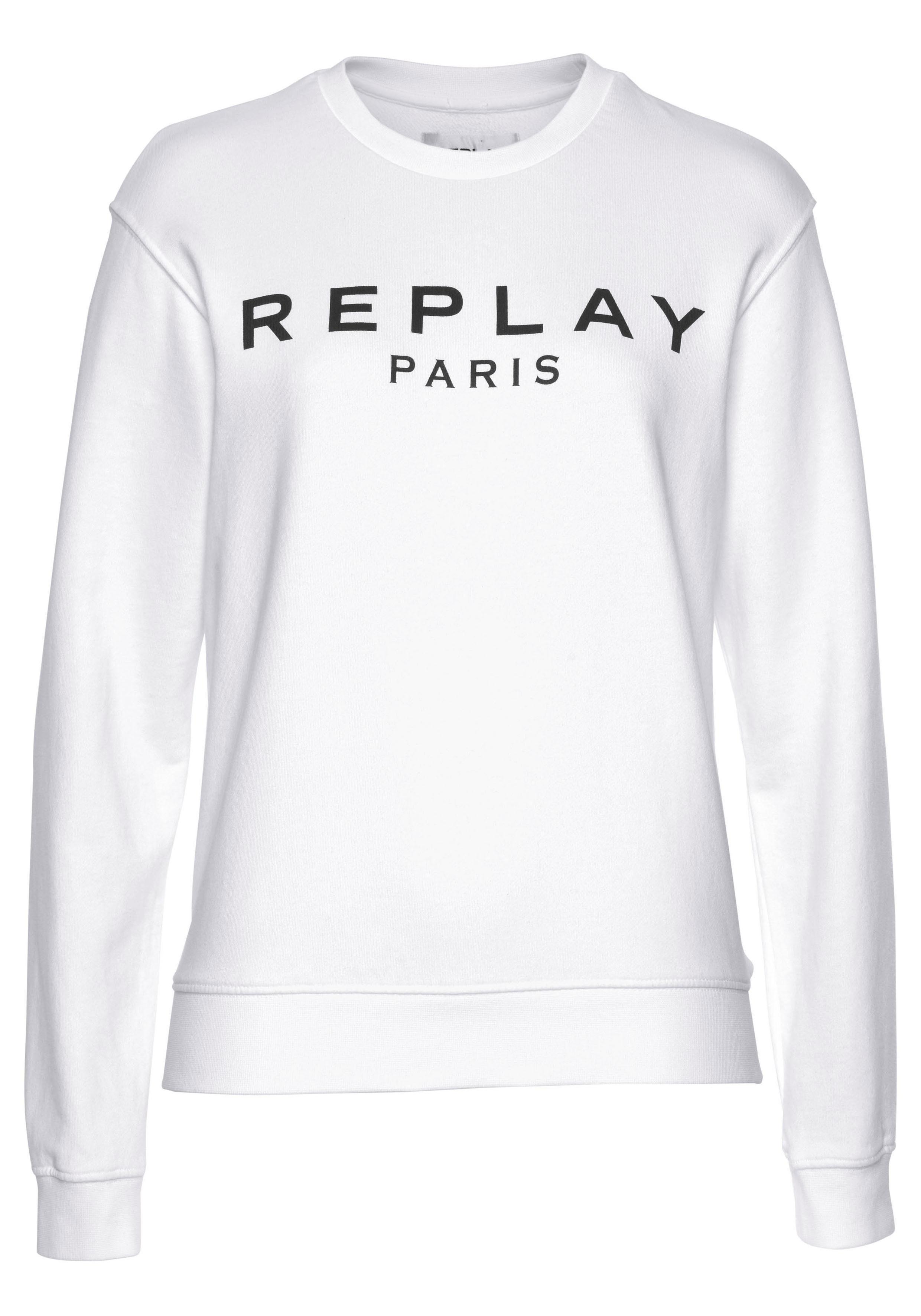 REPLAY Sweatshirt Weiß 100% Baumwolle Damen Pullover