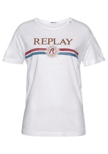 Replay T-Shirt mit coolem Statementprint