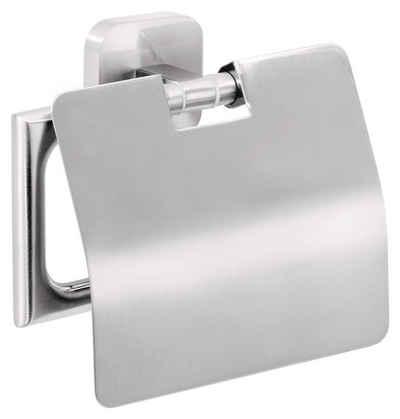 tesa Toilettenpapierhalter »ESTEETIC Toilettenpapierhalter m. Deckel, inkl. Klebelösung« (1-St), Kein Bohren, Rostfrei