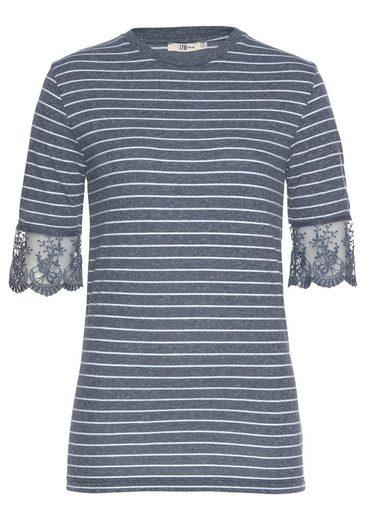 LTB T-Shirt »GOLOME« mit Streifen und floraler Spitze