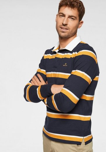 Gant Langarm-Poloshirt Kontrastkragen, sportlicher Streifenlook