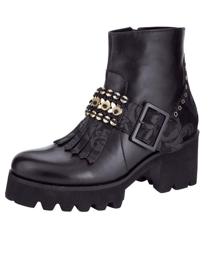 Liva Loop Plateaustiefelette mit Zierschließe und modischen Fransen   Schuhe > Stiefeletten > Plateaustiefeletten   Schwarz   Liva Loop