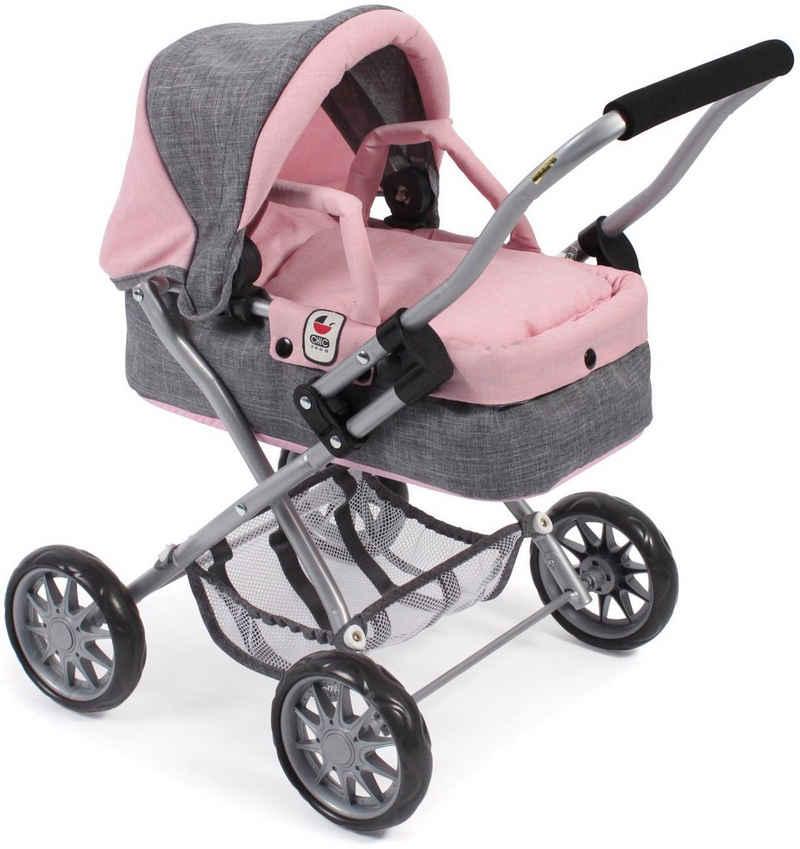 CHIC2000 Puppenwagen »Mini-Kuschelwagen Smarty, grau-rosa«, mit herausnehmbarer Tragetasche
