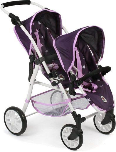 CHIC2000 Puppen-Zwillingsbuggy »Tandem-Puppen-Buggy Twinny, Stars lila«, mit schwenkbaren Vorderrädern