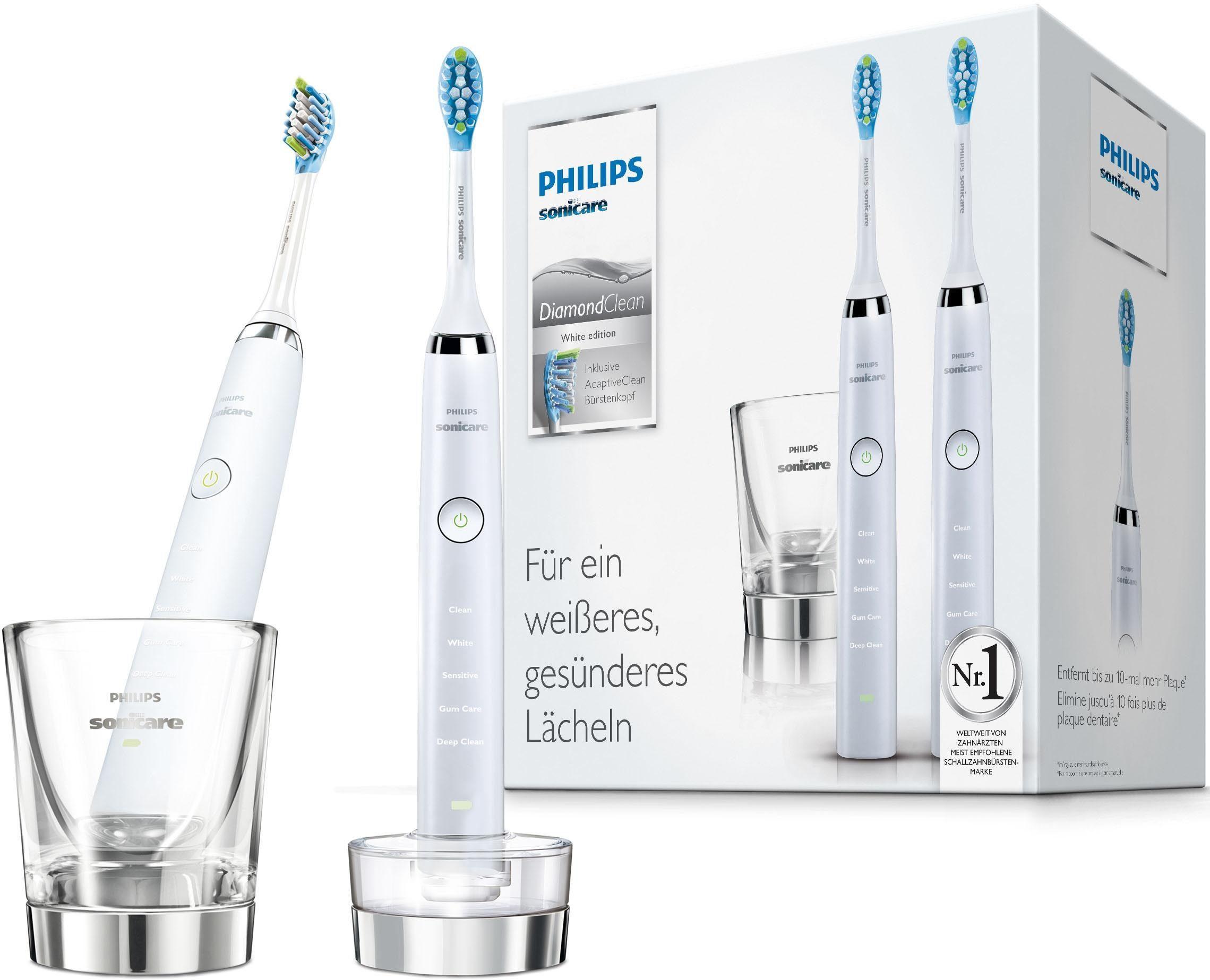 Philips Sonicare Schallzahnbürste HX9327/87 Diamond Clean Neue Generation, Aufsteckbürsten: 2 St., Doppelpack inkl. Ladeglas & Ladering
