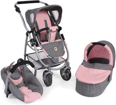 CHIC2000 Kombi-Puppenwagen »Emotion All In 3in1, Grau-Rosa«, inkl. Babywanne, Babyschale und Sportwagenaufsatz