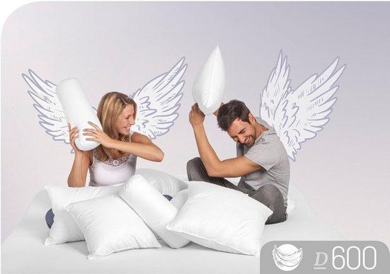 Daunenkissen, »D600«, Schlafstil, Füllung: 90% Daunen, 10% Federn, Bezug: 100% Baumwolle, (1-tlg)