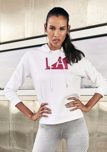LASCANA Kapuzensweatshirt »Galaxy« mit samtigem Labelprint