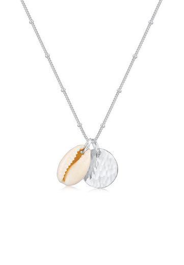 Elli Collierkettchen »Kauri Muschel und Plättchen Kugelkette 925 Silber«